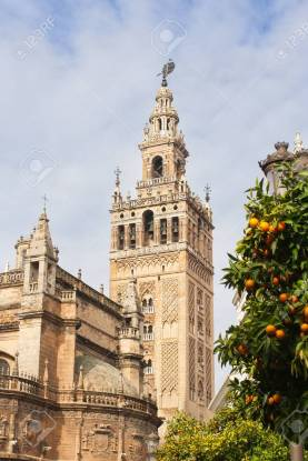 Giralda the bell tower of the Cathedral of Seville and orange trees full of ripe fruits in a sunny day